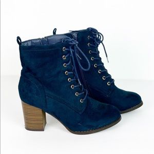 JC Suede Ankle Lace Up Booties